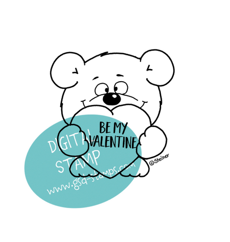 Valentine's Bear - Digital Stamp