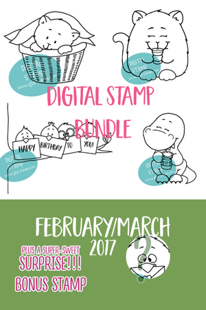 February/March Digital Stamp Bundle - Clearstamps - Clear Stamps - Cardmaking- Ideas- papercrafting- handmade - cards-  Papercrafts - Gerda Steiner Designs