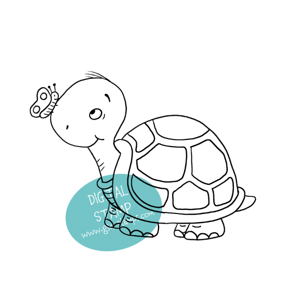 Hello Friend Turtle - Digital Stamp
