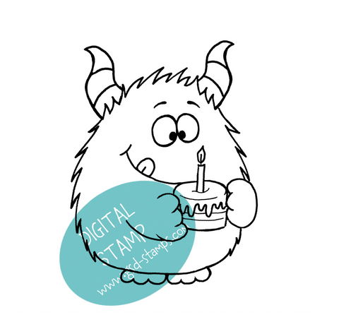I didn't eat it (yet)! - Birthday Monster Digital Stamp