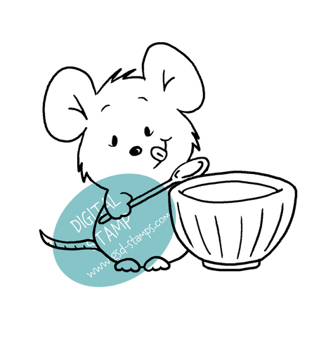 Sweet Tooth Mouse - Digital Stamp