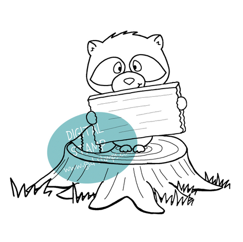 Racoon Digital Stamp
