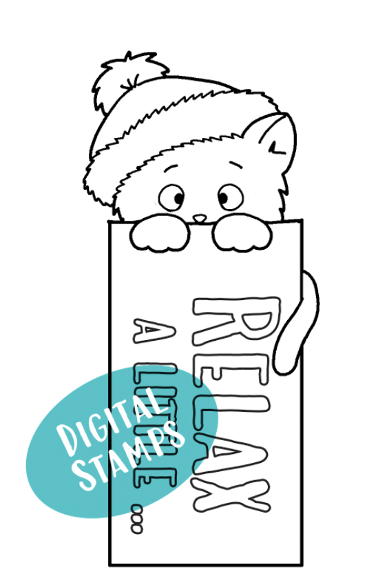 Kitten Bookmark - Relax a Little - Printable