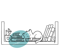 Cat in Bookshelf Digital Stamp