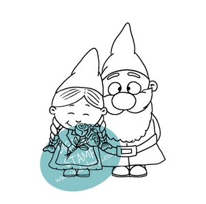 Gnome Couple - Digital Stamp - Clearstamps - Clear Stamps - Cardmaking- Ideas- papercrafting- handmade - cards-  Papercrafts - Gerda Steiner Designs