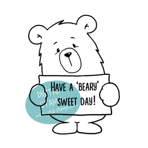 Have a 'beary' Sweet Day - Digital Stamp - Clearstamps - Clear Stamps - Cardmaking- Ideas- papercrafting- handmade - cards-  Papercrafts - Gerda Steiner Designs