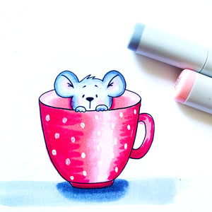 Mouse in cup - Digital Stamp