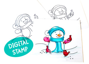 Snowman and Birds Digital Stamp