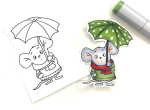 Umbrella Mouse Digital Stamp - Clearstamps - Clear Stamps - Cardmaking- Ideas- papercrafting- handmade - cards-  Papercrafts - Gerda Steiner Designs