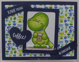 Coffeesaurus 3x4 Clear Stamp Set Gerda Steiner Designs gsd-stamps dinosaur coffee tea handmade cards papercrafts