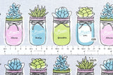 Mason Jar Terrarium - grey - fat quarter