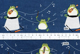 Music Frogs - blue - fat quarter