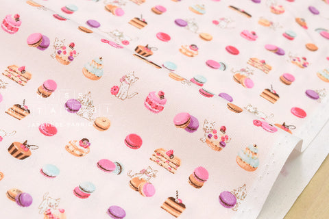 Yuwa cat sweets - pink - fat quarter