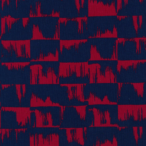 Kokka Ellen Baker Paint - brushstrokes - navy, red - fat quarter