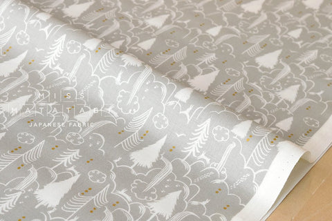 Cotton + Steel Sleep Tight - bunny hill - neutral, metallic gold