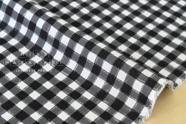 Silk blend painted gingham - black