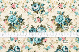 Tapestry roses - blue, pink, gold