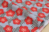 Japanese fabric ume blossom stripes cotton crepe - black, red, grey