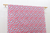 Japanese fabric ume blossom stripes cotton crepe - blue, pink