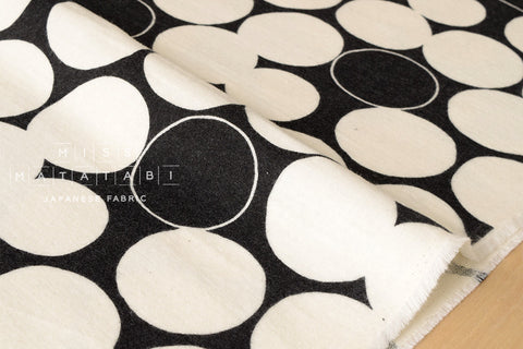 Brushed cotton double gauze dots - cream, black