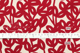 Leafy vine canvas - red, natural