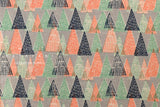 Winter Trees - grey, peach, green, navy