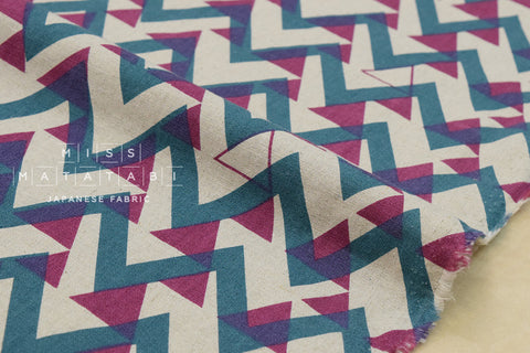 Triangle mountains canvas - teal, magenta, natural - fat quarter