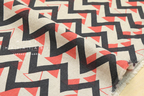 Triangle mountains canvas - chocolate, coral, natural - fat quarter