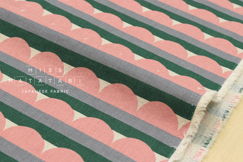 Scallop stripes canvas - peach, green - fat quarter
