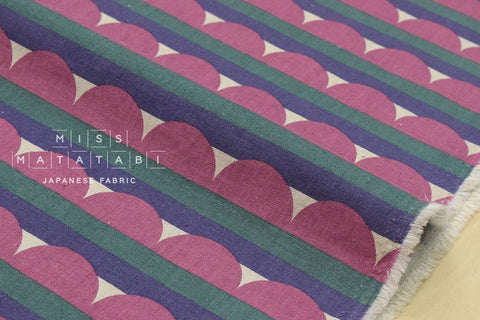 Scallop stripes canvas - pink, purple, green - fat quarter