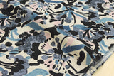 Watercolor floral - blue, black, pale peach