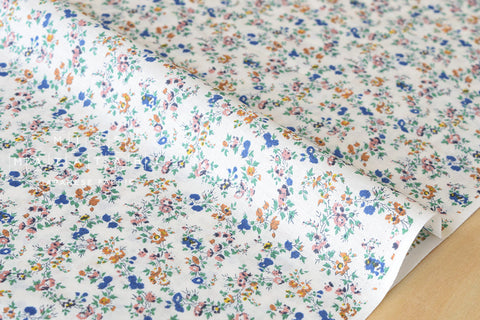 Tiny floral - cotton lawn - blush, blue, mustard, green