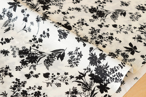 Silhouette foliage - cotton lawn - black, cream