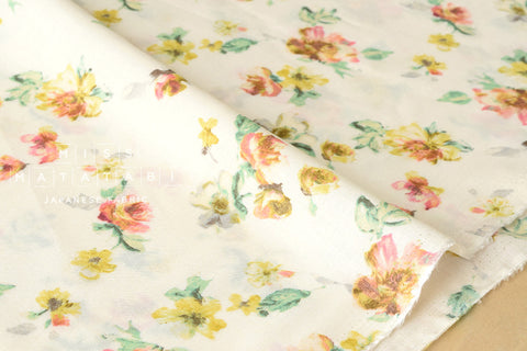 Flowers rayon lawn - cream