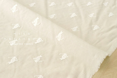 Embroidered Cats lawn - cream