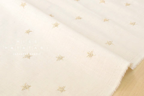 Embroidered metallic stars lawn - metallic gold, cream