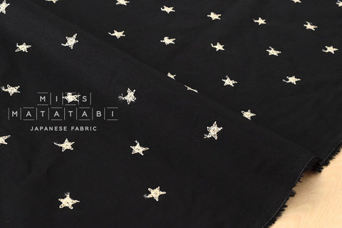 Embroidered metallic stars lawn - metallic gold, black