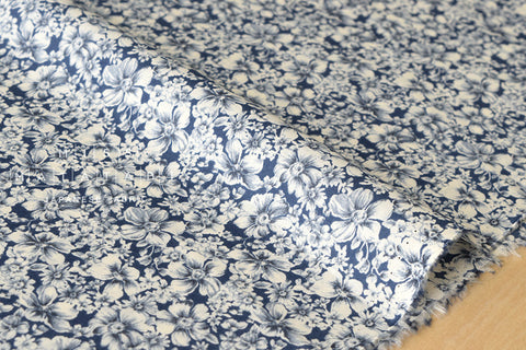 Indigo petals - cotton lawn - indigo blue, cream