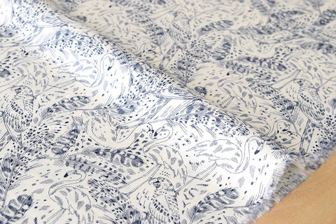 Birds and feathers - cotton lawn - navy blue, cream