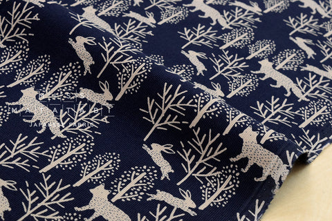 Corduroy Fox and Bunny - navy blue