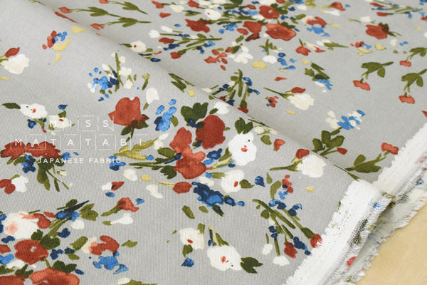 Brushed twill watercolor flowers - grey