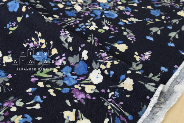 Brushed twill watercolor flowers - dark blue