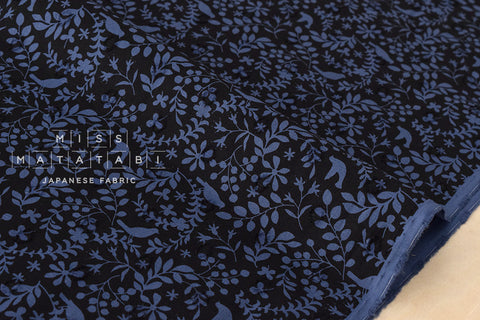 Cut dobby voile - birds and branches - black, blue