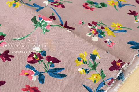 Chiffon Dobby floral - dusty pink