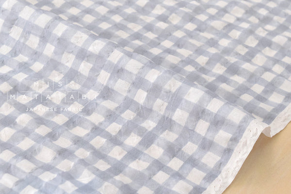 Seersucker Gingham lawn - light grey