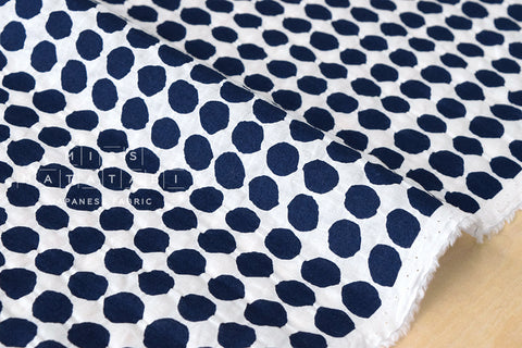 Textured Enshuku lawn dots - indigo blue, white
