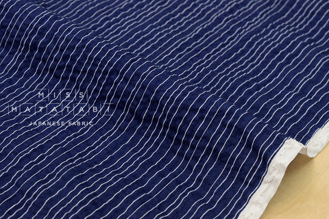 Seersucker Lawn - dainty stripes - indigo blue, cream