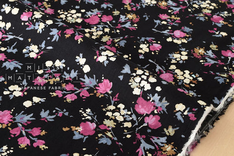 Dainty Floral - black, pink, grey, cream