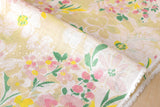 Painted floral linen voile - cream, pink, yellow, green