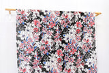 Painted floral linen voile - black, pink, red, blue